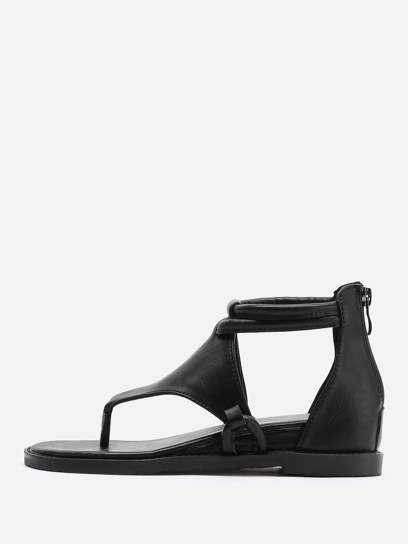 Фото Zipper Back Toe Post Sandals. Купить с доставкой