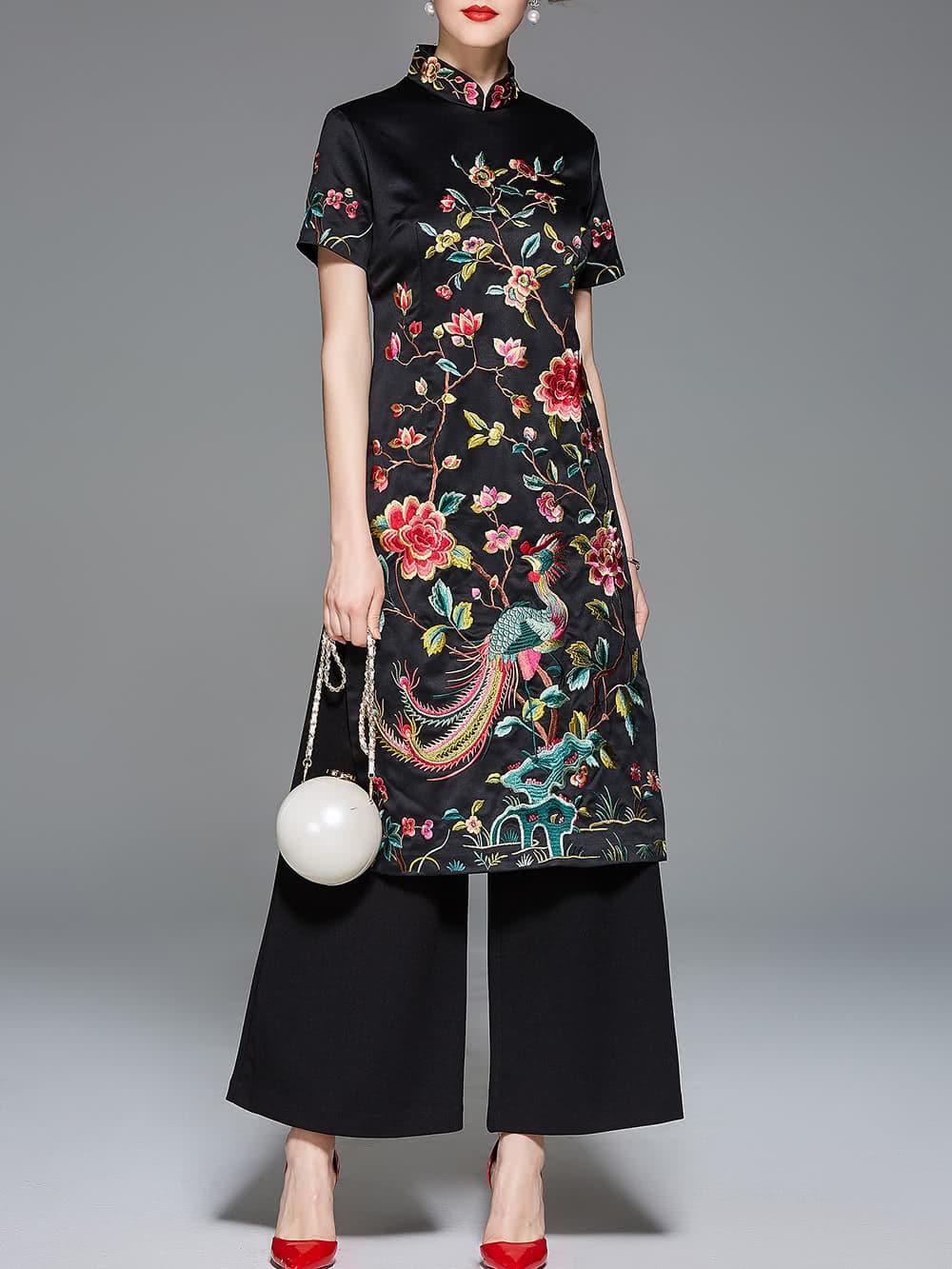 Фото Collar Flowers Embroidered Split Dress. Купить с доставкой