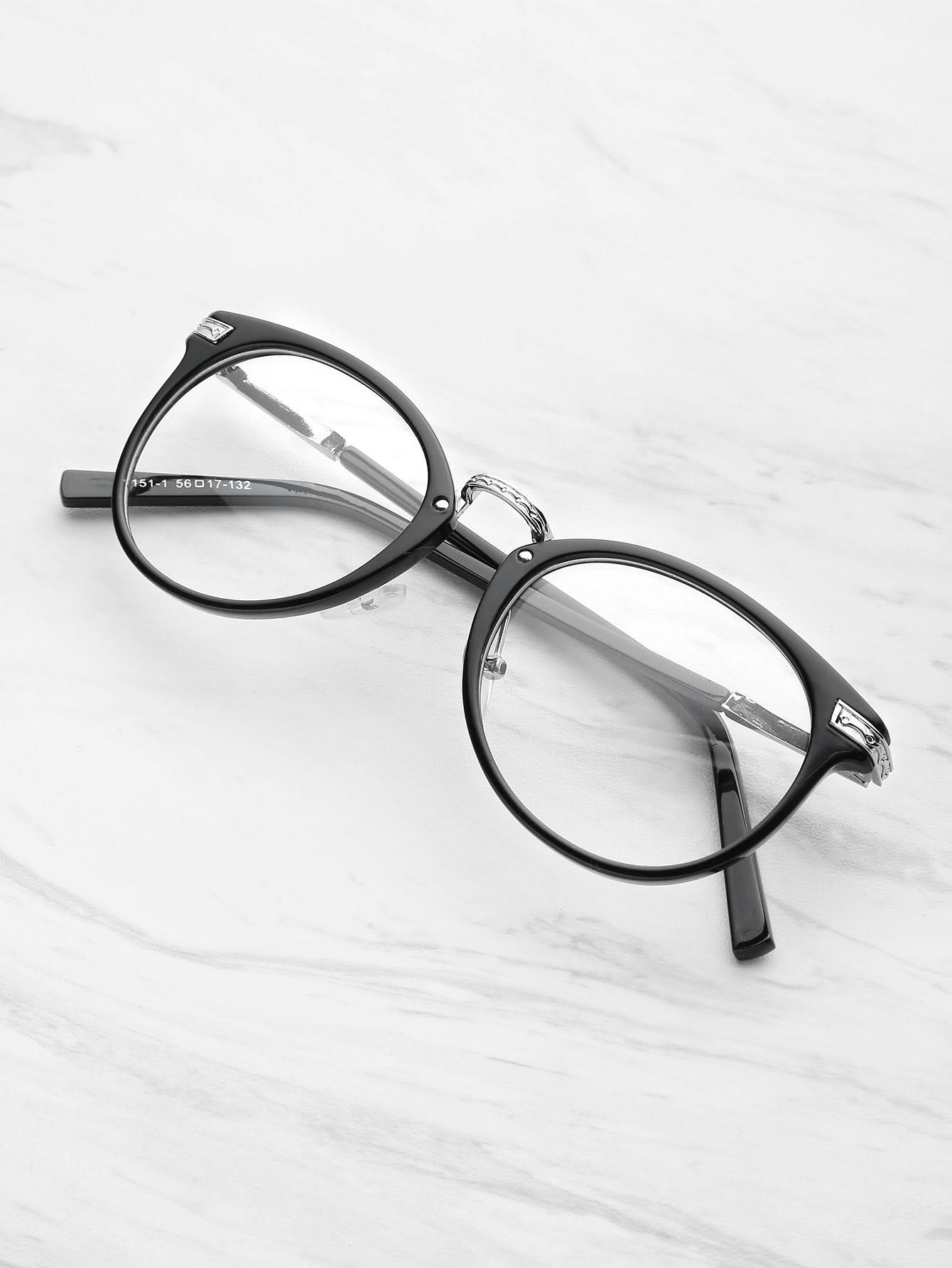 Фото Black Frame Metal Arm Clear Lens Glasses. Купить с доставкой