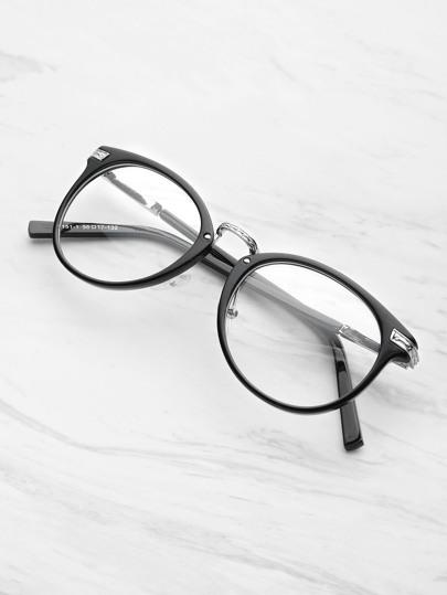 Black Frame Metal Arm Clear Lens Glasses -SheIn(Sheinside)