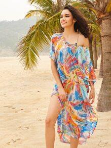 Abstract Print Lace Up Slit Side Beach Kaftan