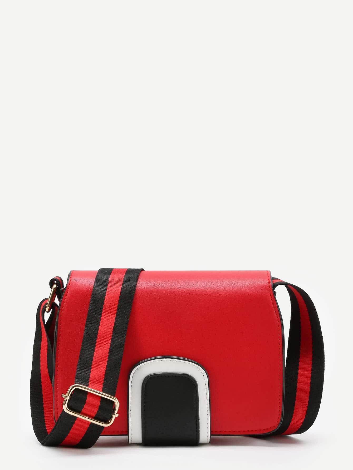 Фото PU Flap Bag With Striped Strap. Купить с доставкой