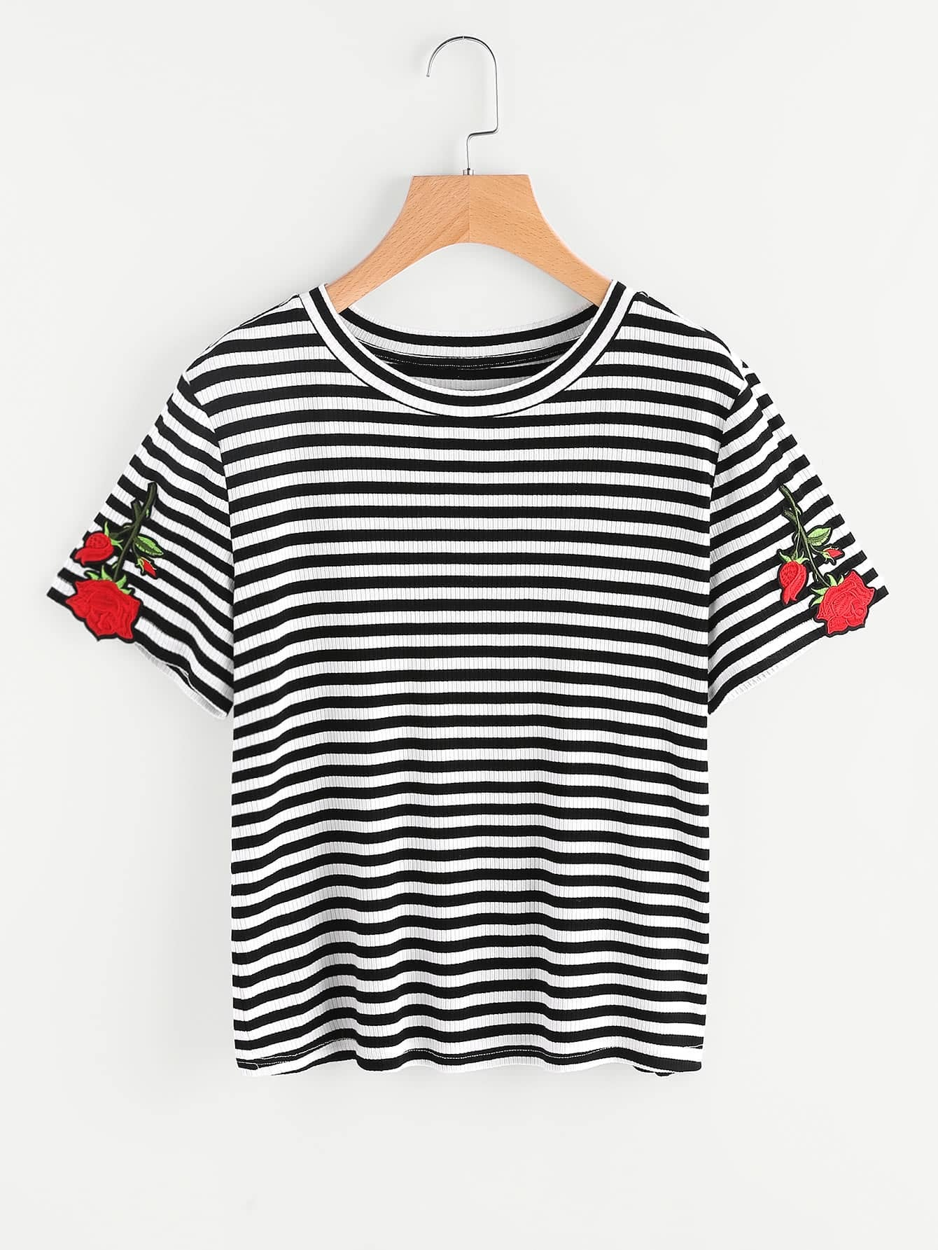 Rose Patch Rib Knit Striped Tee tee170529702