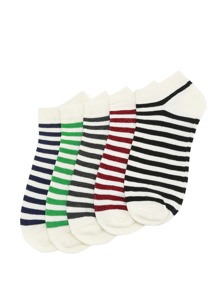 5 Color Striped Socks 5pairs
