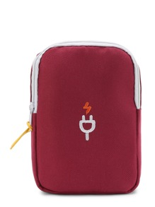 Bolsa de maquillaje con bordado de enchufe con detalle de red