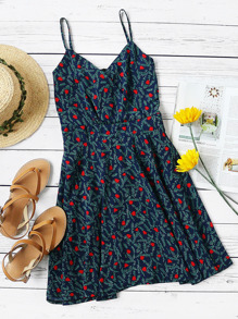 Calico Print Random Wrap Front Zip Back Cami Dress