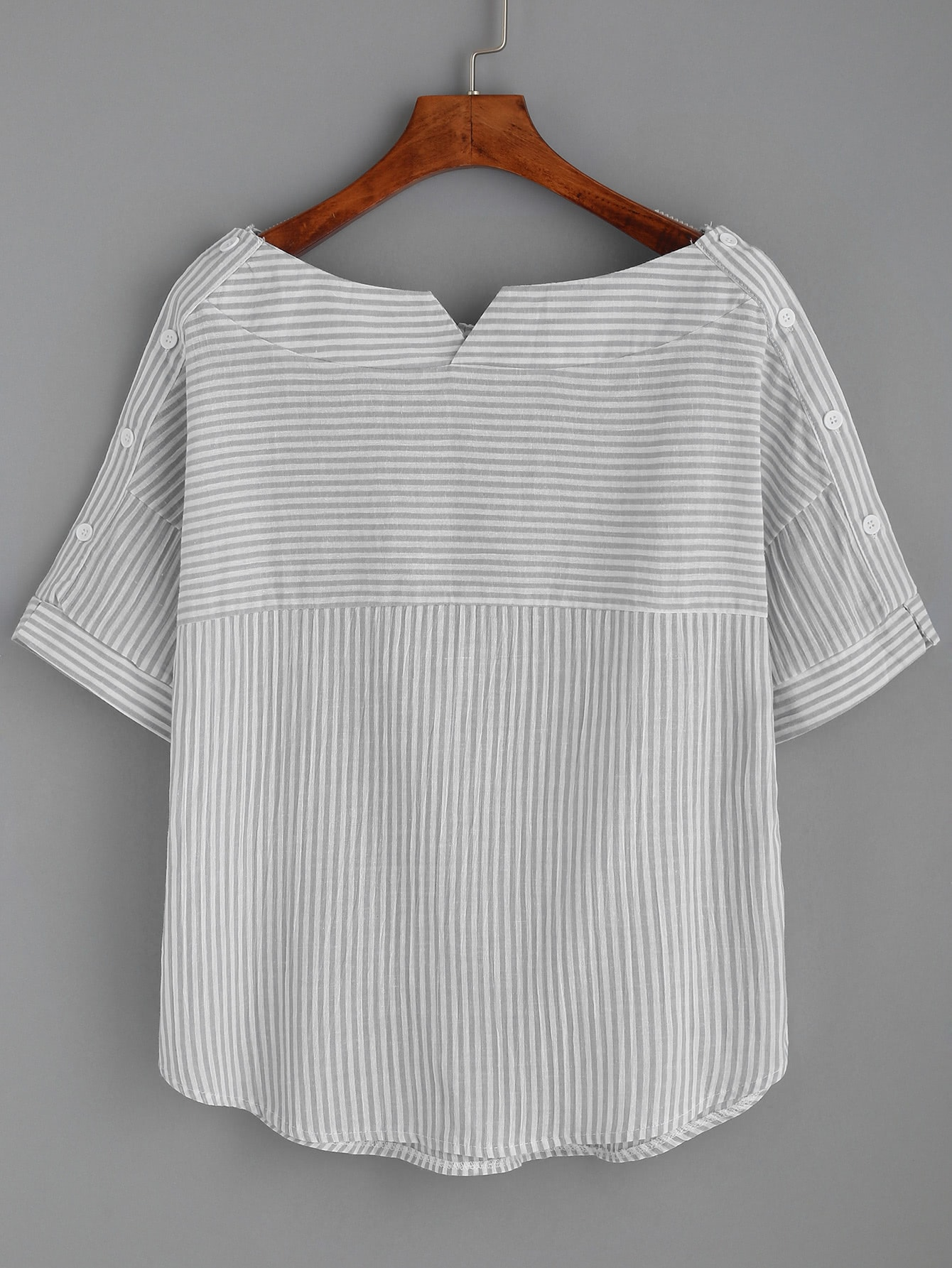 Boat Neckline Pinstripe Button Side Top