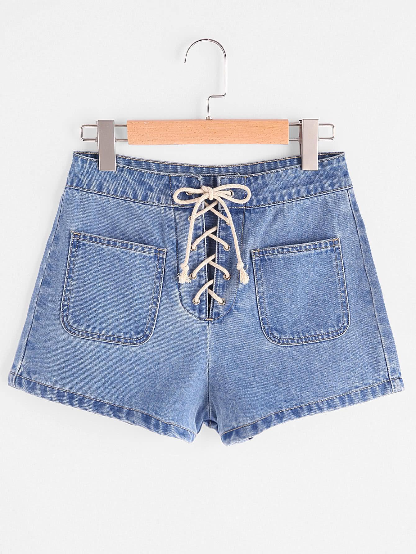 Фото Patch Pocket Front Lace Up Denim Shorts. Купить с доставкой