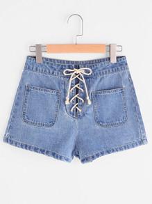 Jeansshorts mit Taschen vorn und Band