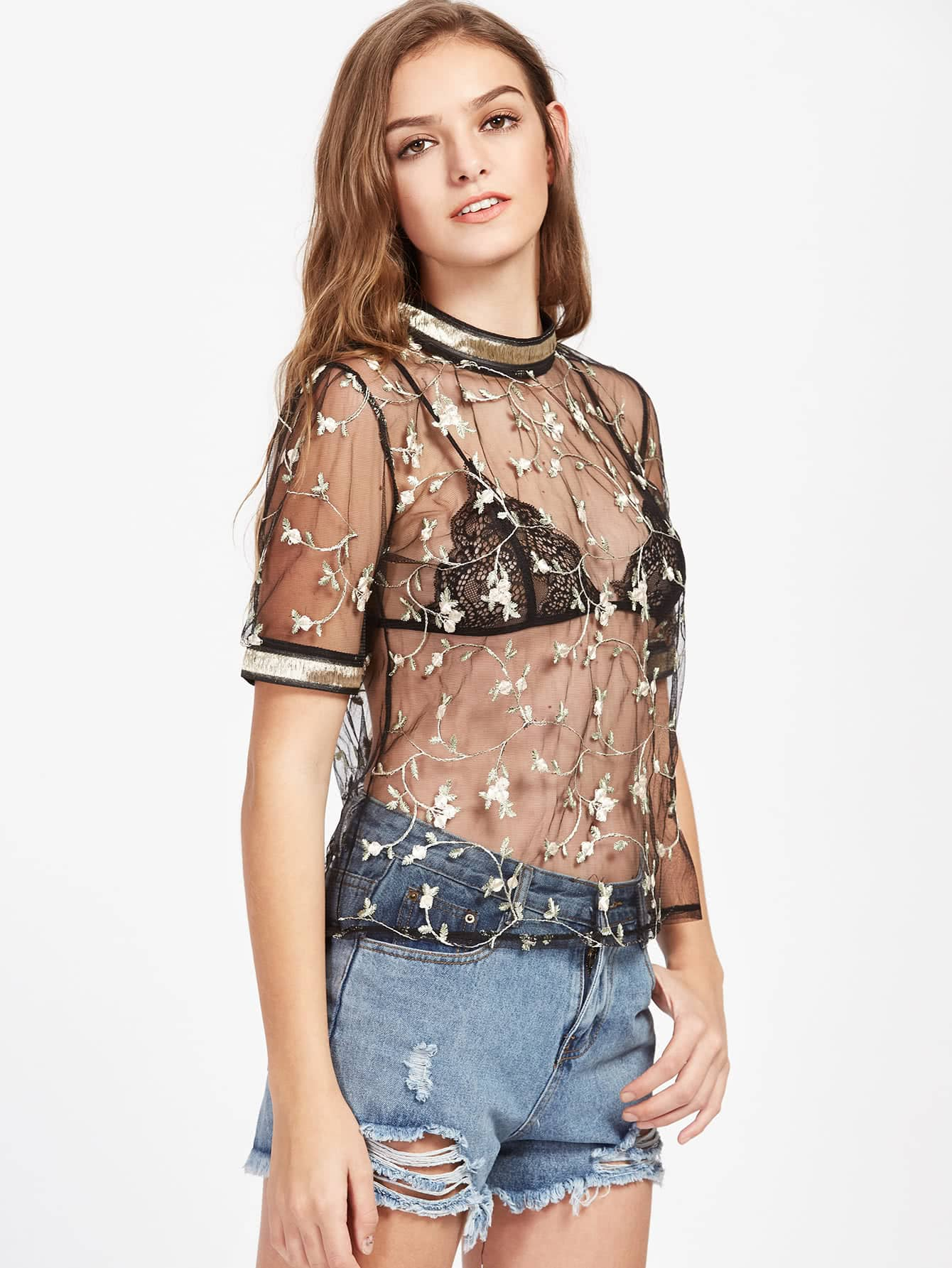 Tape Trim Embroidery Detail Sheer Top