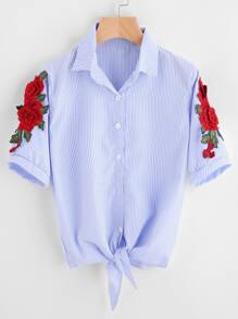 Embroidered Appliques Pinstripe Knot Hem Blouse