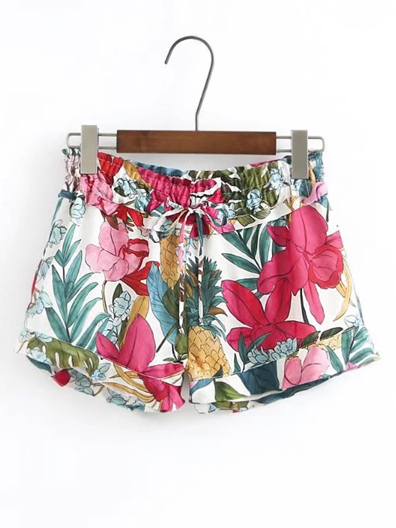 Фото Drawstring Waist Flower Print Shorts. Купить с доставкой