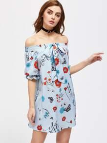 Vestido de rayas con estampado floral con lazo en la parte delantera