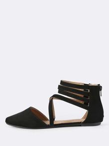 Multi Strap Point Toe Flats BLACK