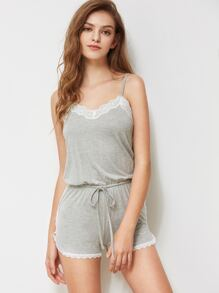 Lace Trim Drawstring Waist Heather Knit Pajama Romper
