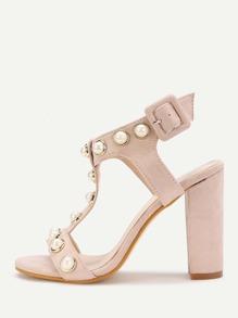 Sandales à talons avec perle artificielle détail T lacets