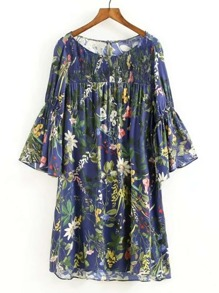 Bell Sleeve Flower Print Dress