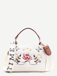 Flower Embroidery Denim Shoulder Bag With Handle