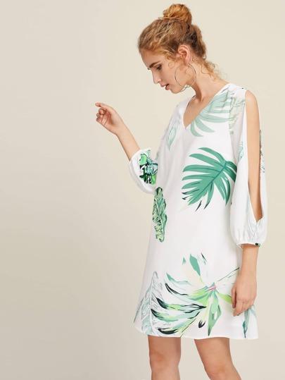 Robe manche fendue imprimée tropical