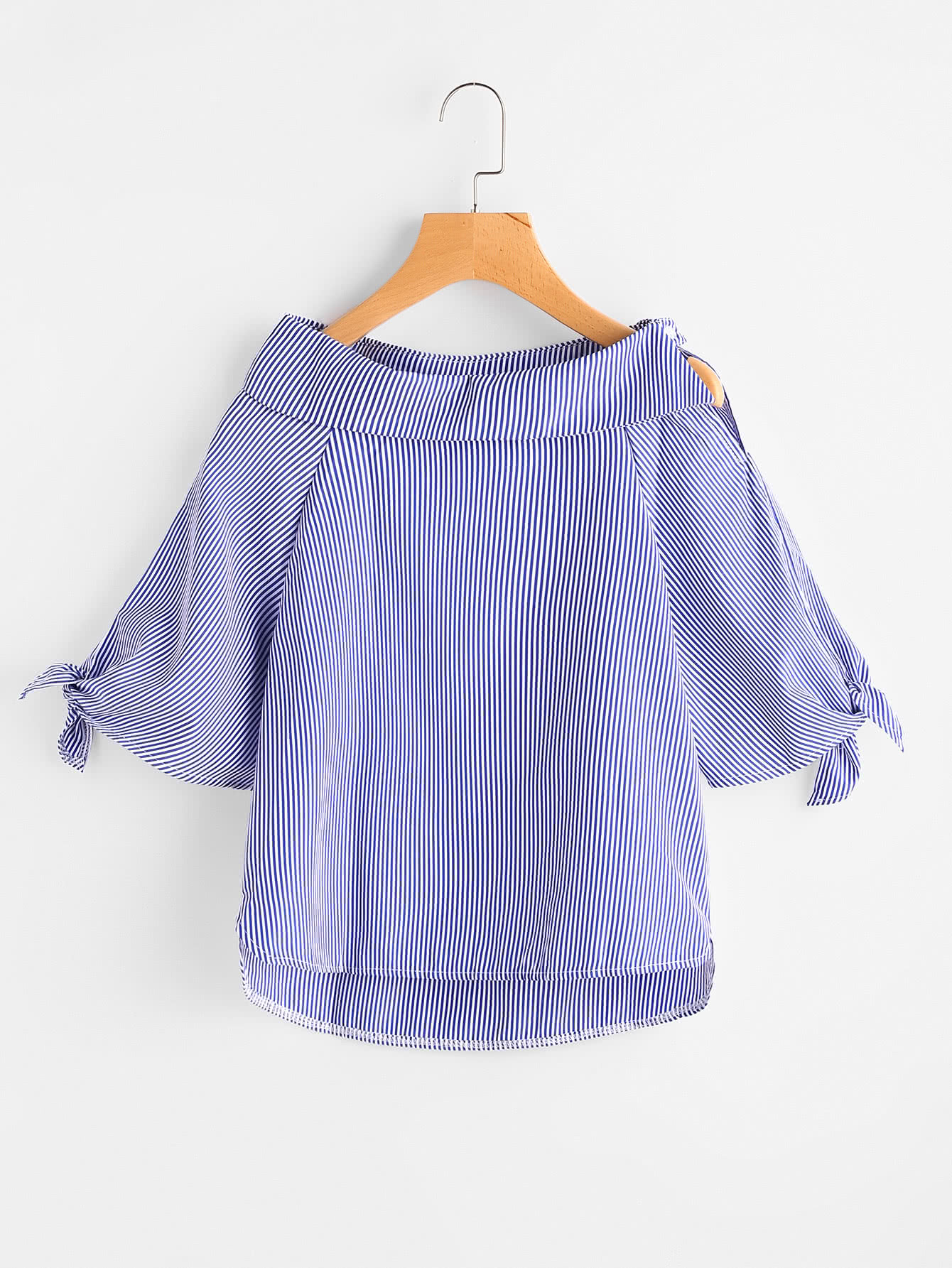 Vertical Striped Tie Cuff Dip Hem Blouse чайник scarlett чайник scarlett sc ek14e04 white blue