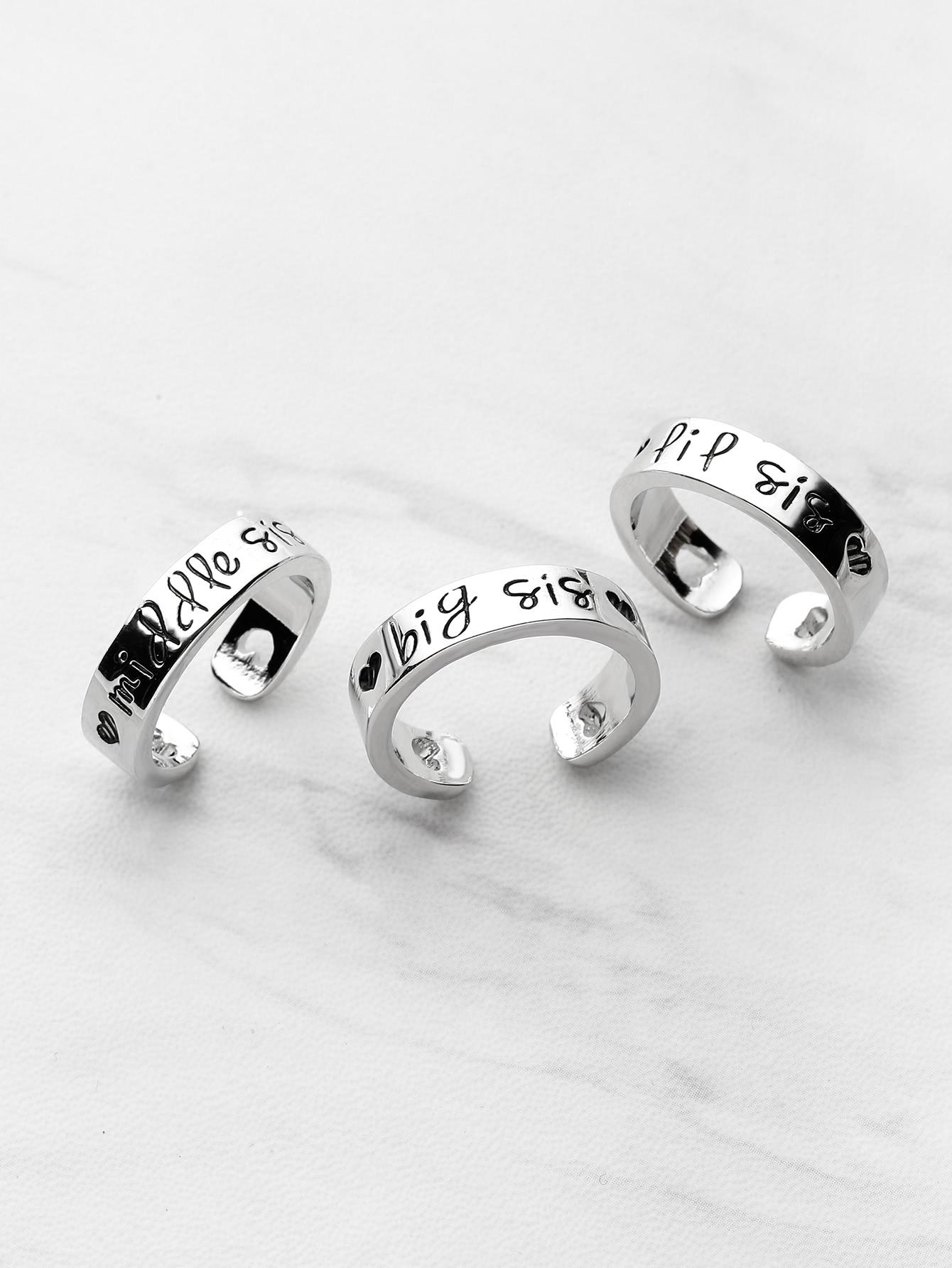 Heart Shaped Detail Friendship Rings 3pcs rhinestone detail layered rings set 3pcs
