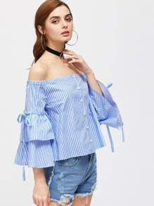 Button Up Layered Bell Sleeve Striped Bardot Top pictures