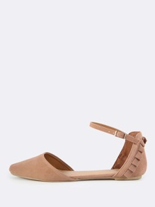 Faux Suede Frilly Back Flats CAMEL