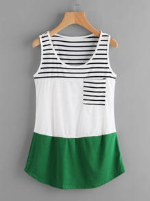 Color Block Contrast Striped Tank Top