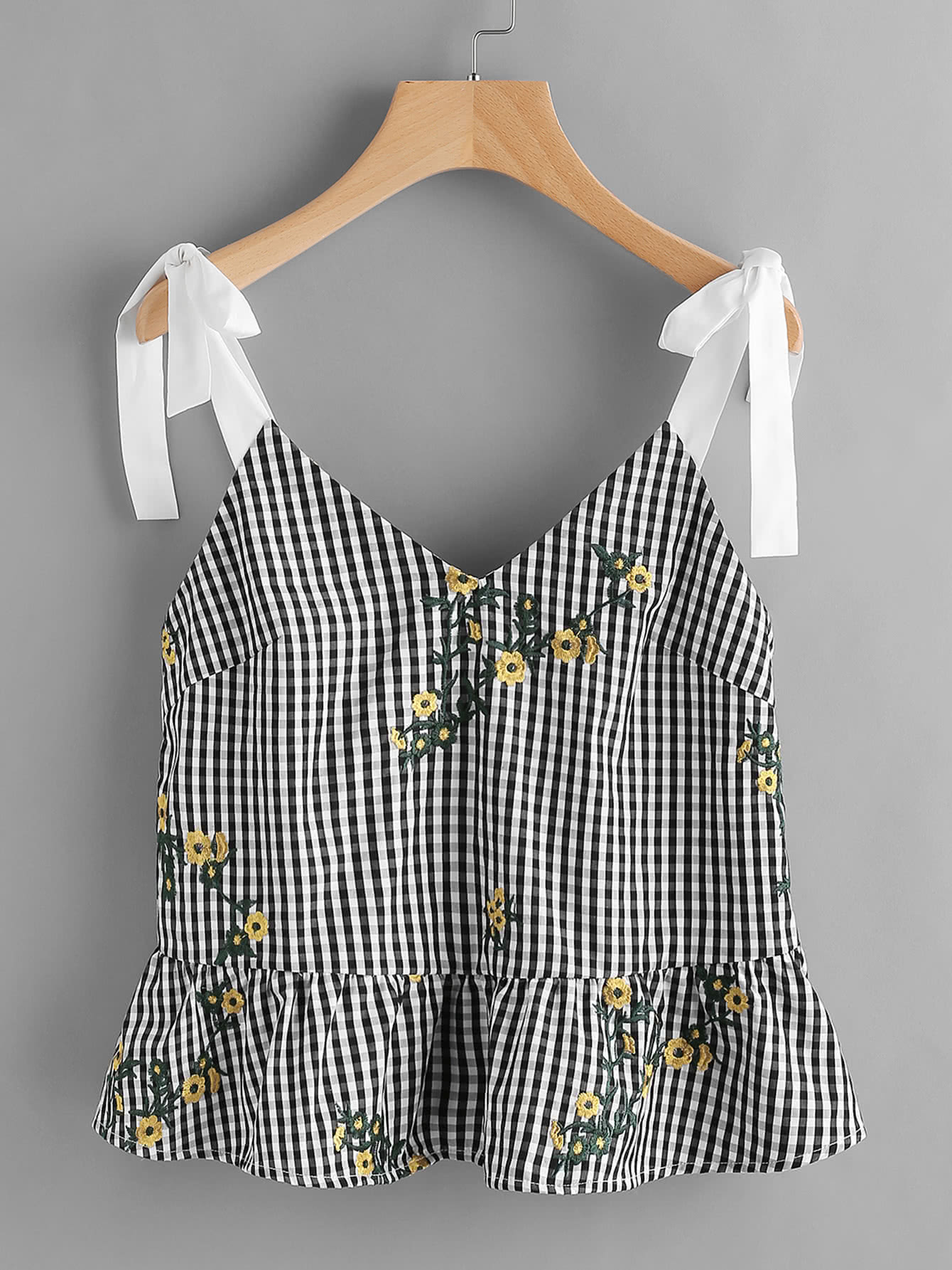 Sash Tie Shoulder Blossom Embroidered Ruffle Gingham Top