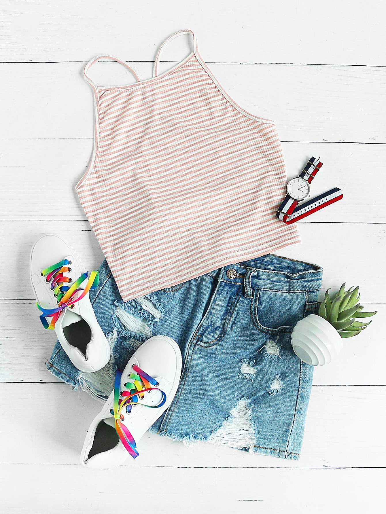 Y Back Rib Knit Striped Cami Top
