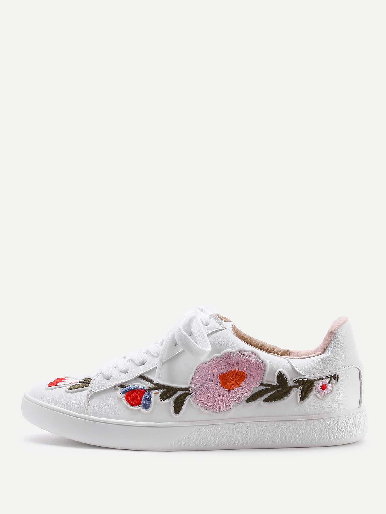 все цены на Flower Embroidery Lace Up Sneakers