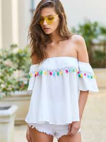 Bardot Tassel Trim Frill Top With Scarf