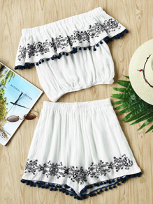 Pom Pom Trim Embroidered Flounce Top And Shorts Co-Ord