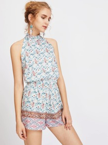 Tribal Print Tie Halter Open Back Romper