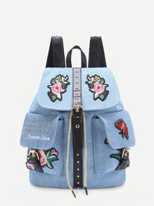 Applique And Studded Embellished Denim Backpack