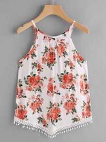 Random Florals Crochet Hem Cami Top