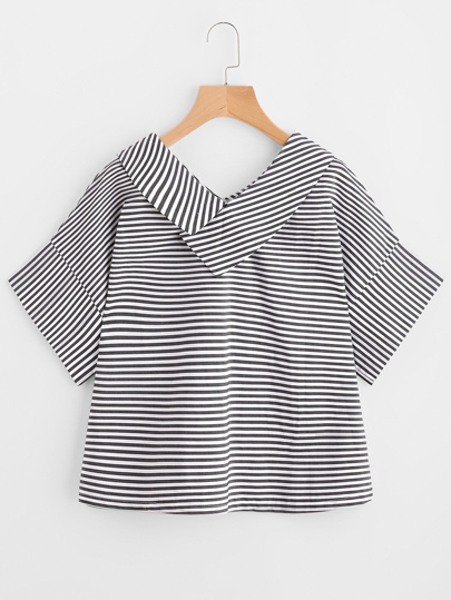 V-neckline Striped Top