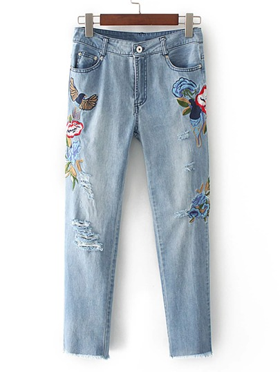 Ripped Detail Bleach Wash Ankle Jeans