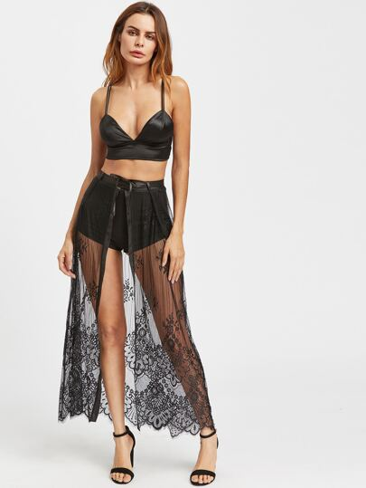 Eyelash Lace Slit Belted Skirt With Shorts