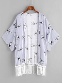 Pinstripe Crane Print Fringe Hem Kimono