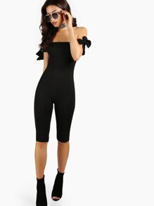 Tube Top Capri Length Jumpsuit BLACK