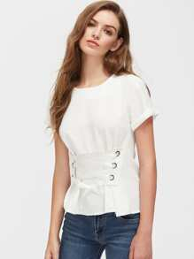 rolled sleeve eyelet lace up corset top sheinsheinside