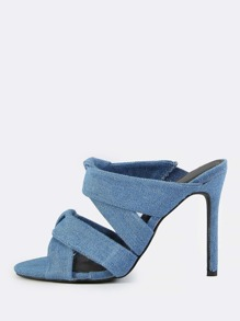 Double Denim Twist Mules DENIM