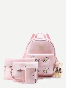 4 piezas mochila de pu de bordado con adorno de beso