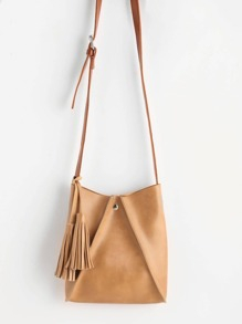 Tassel Detail PU Crossbody Bag