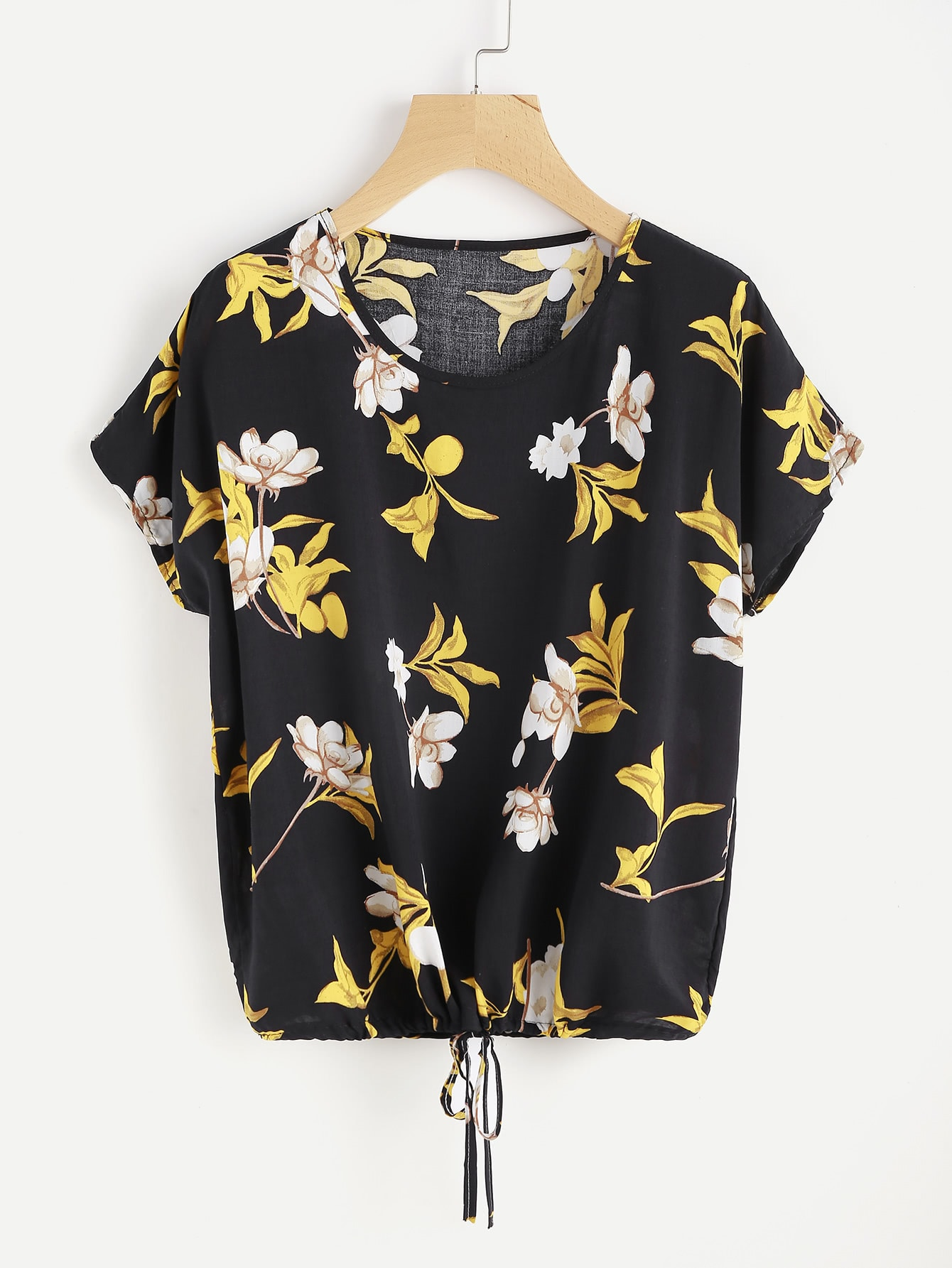Фото Florals Dolman Sleeve Drawstring Top. Купить с доставкой