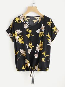 Florals Dolman Sleeve Drawstring Top