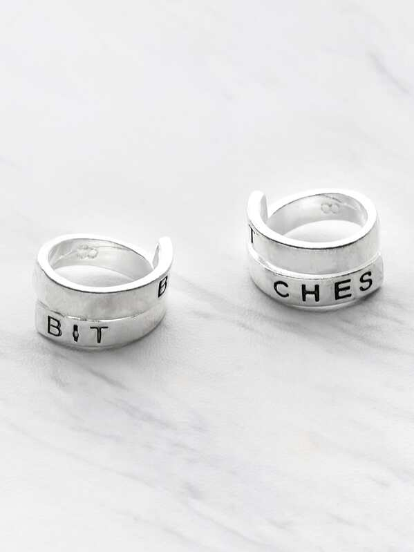 Letter Pattern Wrap Around Ring Pack 2pcs, null