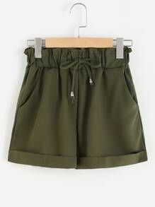 Elastic Drawstring Waist Cuffed Shorts