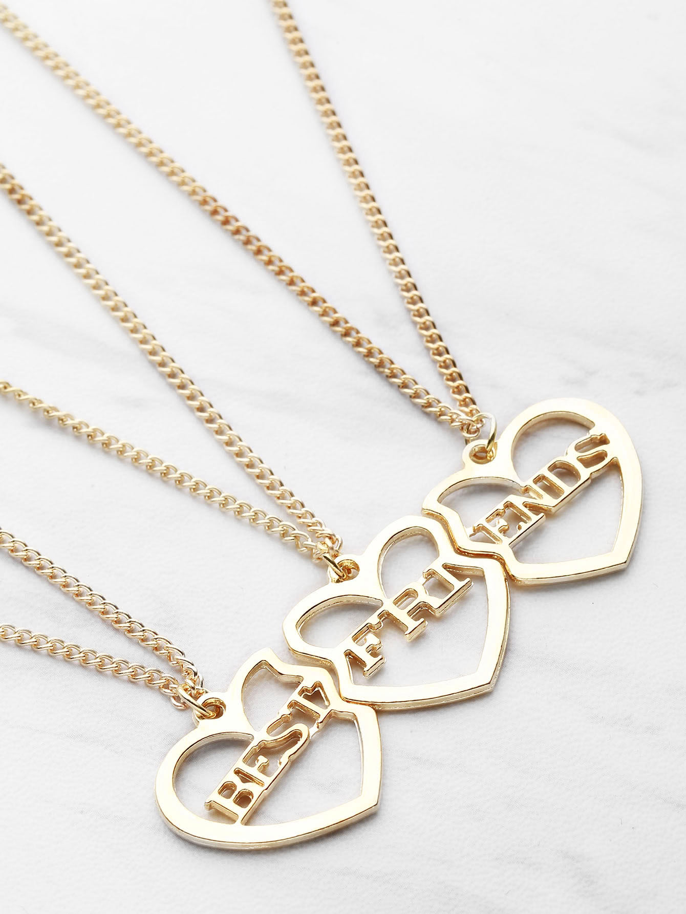 shaped friendship necklace 3pcs shein sheinside